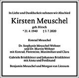 Kirsten Meuschel : Traueranzeige