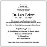 Dr. Lutz Eckert : Traueranzeige