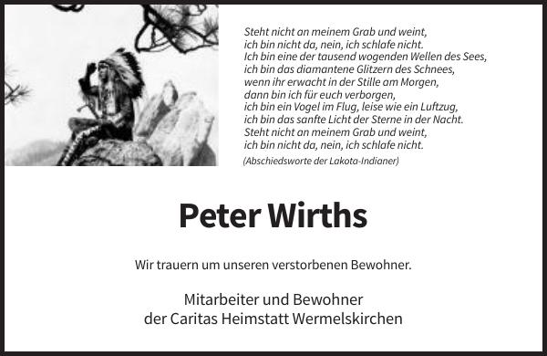 Peter Wirths : Traueranzeige : Remscheider General-Anzeiger
